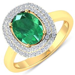 Natural 1.93 CTW Zambian Emerald & Diamond Ring 14K Yellow Gold - REF-80R9F