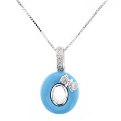 Natural 1.50 CTW Turquoise & Diamond Necklace 14K White Gold - REF-28H8W