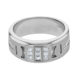 Natural 0.77 CTW Princess Diamond Ring 14K White Gold - REF-234H9W