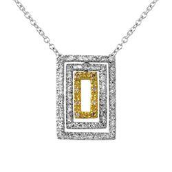 Natural 0.50 CTW Diamond & Pendant 18K Two Tone Yellow Gold - REF-84X6T