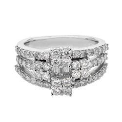 Natural 1.45 CTW Diamond & Baguette Ring 14K White Gold - REF-135H9W