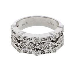 Natural 0.50 CTW Diamond Ring 14K White Gold - REF-92M7F