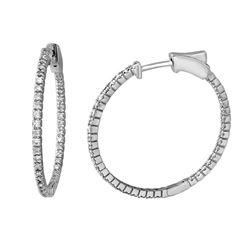 Natural 0.78 CTW Diamond Earrings 14K White Gold - REF-105X3T