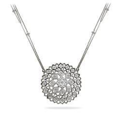 Natural 1 CTW Diamond Necklace 14K White Gold - REF-234X9T