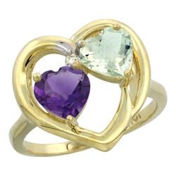 2.60 CTW Amethyst Ring 10K Yellow Gold - REF-23M7A