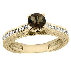 0.71 CTW Quartz & Diamond Ring 14K Yellow Gold - REF-53M2K
