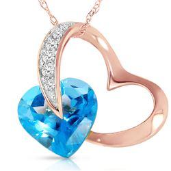 Genuine 4.6 ctw Blue Topaz & Diamond Necklace 14KT Rose Gold - REF-50A7K