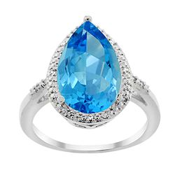 5.55 CTW Swiss Blue Topaz & Diamond Ring 10K White Gold - REF-34A8X