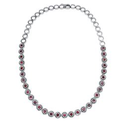 Natural 7.71 CTW Ruby & Diamond Necklace 14K White Gold - REF-600M3F