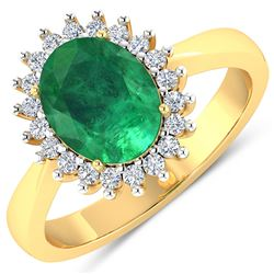 Natural 2.39 CTW Zambian Emerald & Diamond Ring 14K Yellow Gold - REF-51F2N