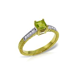 Genuine 0.65 ctw Peridot & Diamond Ring 14KT Yellow Gold - REF-69Y6F