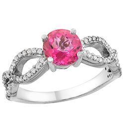 1.25 CTW Pink Topaz & Diamond Ring 14K White Gold - REF-49R8H