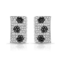 Natural 1.59 CTW Diamond & Black Round Diamond Earrings 14K White Gold - REF-131M4F