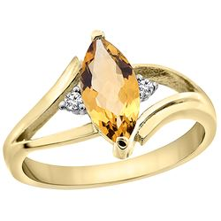 1.04 CTW Citrine & Diamond Ring 10K Yellow Gold - REF-22R9H