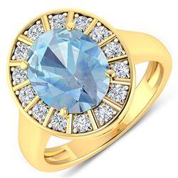 Natural 3.12 CTW Aquamarine & Diamond Ring 14K Yellow Gold - REF-111W3X
