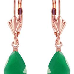 Genuine 2 ctw Emerald Earrings 14KT Rose Gold - REF-43M9T