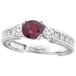 1.60 CTW Ruby & Diamond Ring 14K White Gold - REF-86Y2V