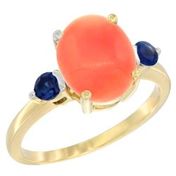 0.24 CTW Blue Sapphire & Natural Coral Ring 10K Yellow Gold - REF-23Y9V