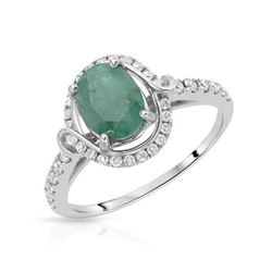 Natural 1.51 CTW Emerald & Diamond Ring 14K White Gold - REF-60W3H