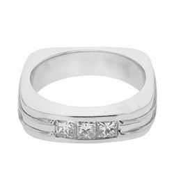 Natural 0.65 CTW Princess Diamond Ring 14K White Gold - REF-238T5X