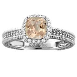 1.54 CTW Morganite & Diamond Ring 14K White Gold - REF-56W8F