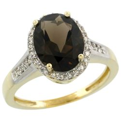 2.60 CTW Quartz & Diamond Ring 14K Yellow Gold - REF-54X7M