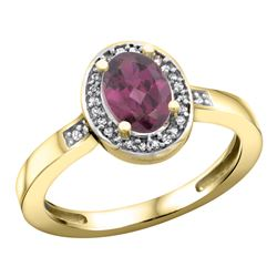 1.15 CTW Rhodolite & Diamond Ring 14K Yellow Gold - REF-38W4F