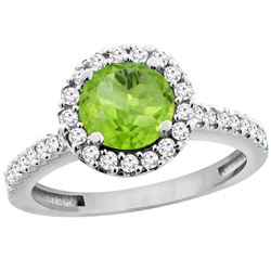 1.13 CTW Peridot & Diamond Ring 14K White Gold - REF-60V5R