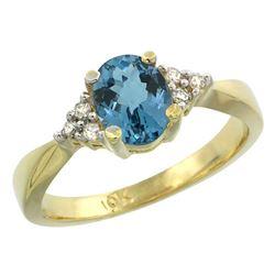 1.06 CTW London Blue Topaz & Diamond Ring 14K Yellow Gold - REF-37Y2V