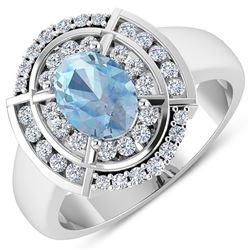 Natural 2.57 CTW Aquamarine & Diamond Ring 14K White Gold - REF-65N2R