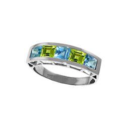 Genuine 2.25 ctw Blue Topaz & Peridot Ring 14KT White Gold - REF-54Y2F
