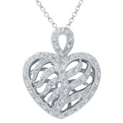 Natural 0.38 CTW Diamond Necklace 14K White Gold - REF-49K5R
