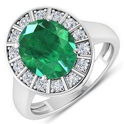 Natural 3.56 CTW Zambian Emerald & Diamond Ring 14K White Gold - REF-145F3N