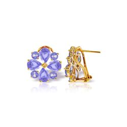 Genuine 4.85 ctw Tanzanite Earrings 14KT Yellow Gold - REF-98T3A