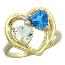 2.61 CTW Diamond, Amethyst & Swiss Blue Topaz Ring 14K Yellow Gold - REF-33A9X
