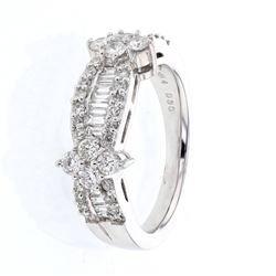 Natural 1.07 CTW Diamond Ring 14K White Gold - REF-144T2X