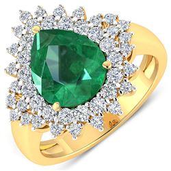 Natural 3.74 CTW Zambian Emerald & Diamond Ring 14K Yellow Gold - REF-168X6W