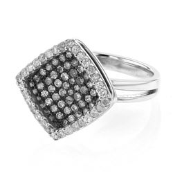 Natural 0.99 CTW Diamond Ring 18K White Gold - REF-117T2X