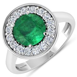 Natural 2.38 CTW Zambian Emerald & Diamond Ring 14K White Gold - REF-108N7R