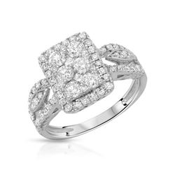 Natural 1.03 CTW Diamond Ring 14K White Gold - REF-146N7Y