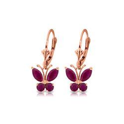 Genuine 1.24 ctw Ruby Earrings 14KT Rose Gold - REF-41Y6F
