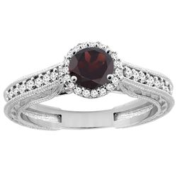 1.25 CTW Garnet & Diamond Ring 14K White Gold - REF-57F5N