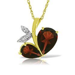 Genuine 5.06 ctw Garnet & Diamond Necklace 14KT Yellow Gold - REF-61V8W