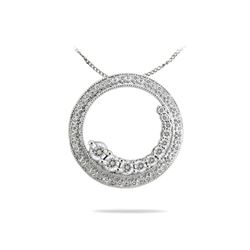 Natural 0.50 CTW Diamond Necklace 14K White Gold - REF-70K2R