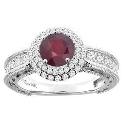 1.55 CTW Ruby & Diamond Ring 14K White Gold - REF-92M4A