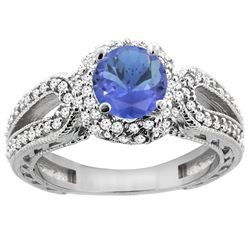 1.34 CTW Tanzanite & Diamond Ring 14K White Gold - REF-92R9H