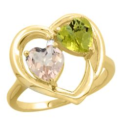 1.91 CTW Diamond, Morganite & Lemon Quartz Ring 14K Yellow Gold - REF-36F3N
