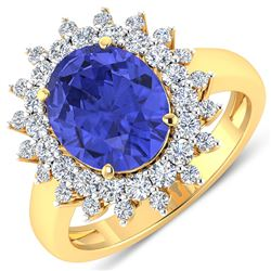 Natural 4.54 CTW Tanzanite & Diamond Ring 14K Yellow Gold - REF-157H5M