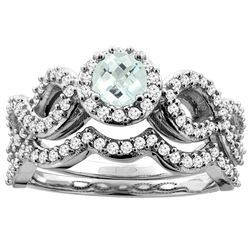 0.92 CTW Aquamarine & Diamond Ring 10K White Gold - REF-82A6X