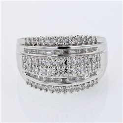 Natural 0.94 CTW Diamond & Baguette Ring 18K White Gold - REF-180T9X